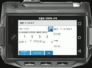 Estaiba en un almacén realizada por el software de sistema de gestión de almacenes SACA mediante un terminal de radiofrecuencia android