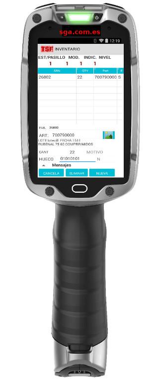 SGA ( WMS ) SACA  . Inventario de almacén realizado con un terminal gráfico android