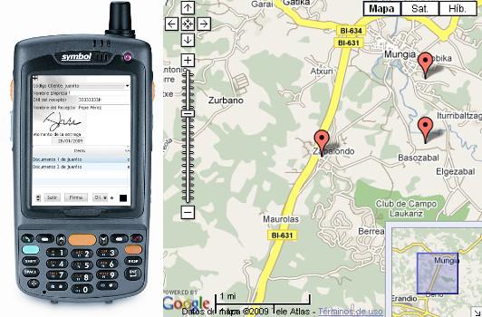 SGA módulo de repsrtos, pantalla del terminal 3G 4G y mapa de Google maps