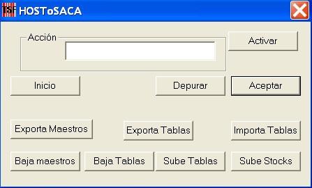sga saca , pantalla del programa de enlace con ERP