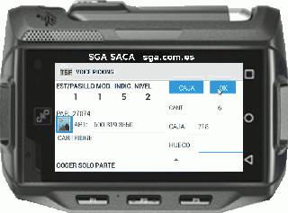 SGA ( WMS ) SACA Picking por voz en un almacén con terminal wearable android