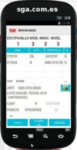 Sistema de gestión de almacenes ms sga saca pantalla de inventario almacen de la aplicación nativa android para terminales radiofrecuencia